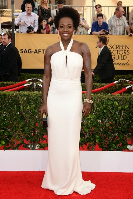 Viola Davis in custom made MaxMara SAG awards 2015 red carpet