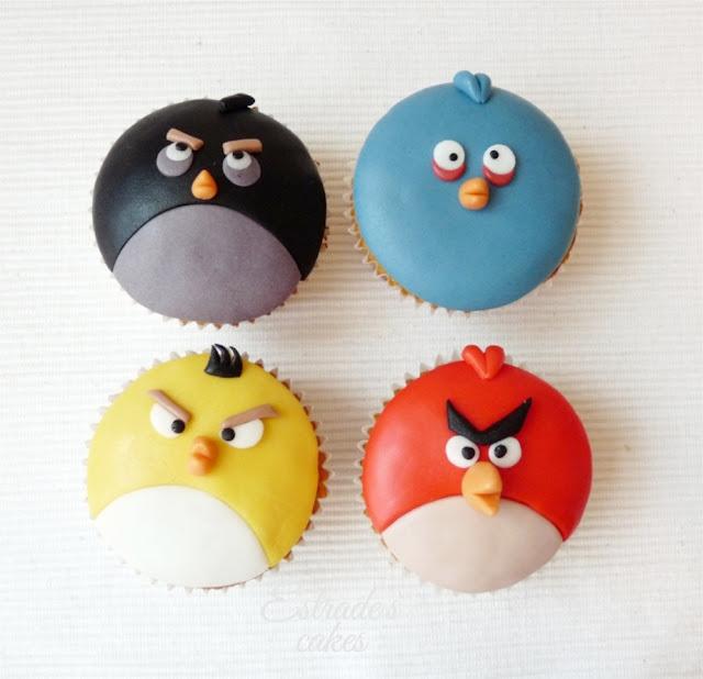 cupcakes de Angry Bird con fondant - 01