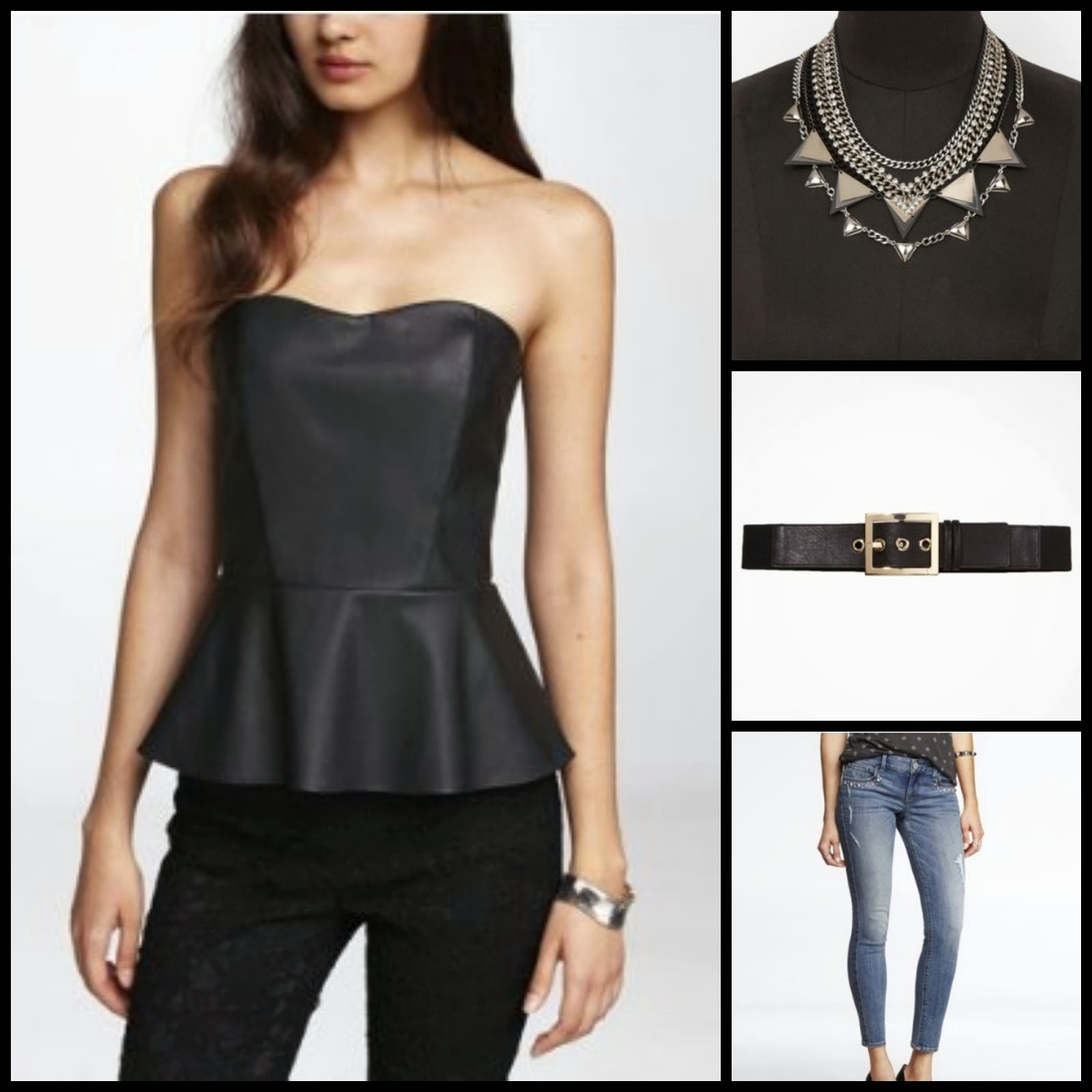 leather peplum top, belt, studded jeans, rhinestone necklace