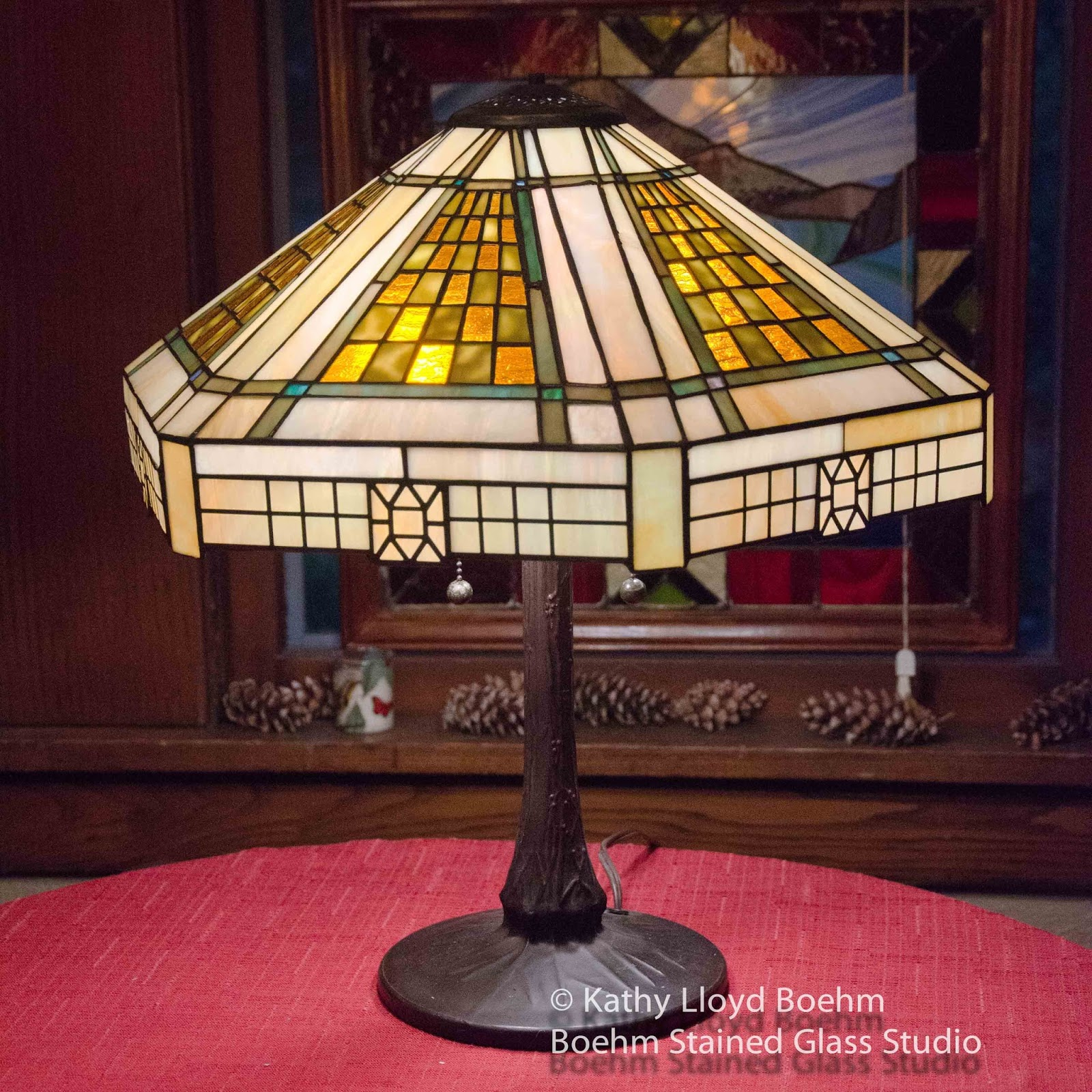 Wright Brothers Stained Glass Lamp : Boehm stained glass frank lloyd wright style lamp