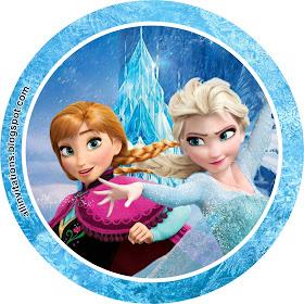 Plantilla para etiqueta redonda con el tema de Frozen una aventura congelada