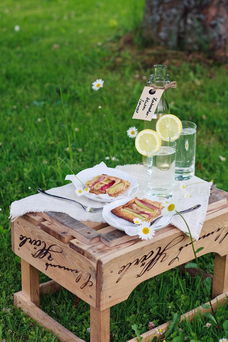 zum mitnehmen bitte picknick im gr nen mit einer rhabarbertarte und holunderlimo. Black Bedroom Furniture Sets. Home Design Ideas