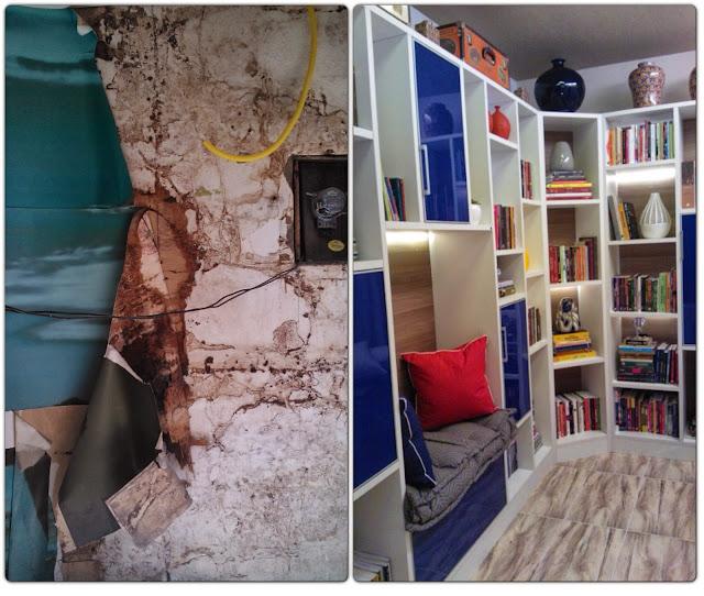 antes e depois - parede da sala de leitura Senac - Santos Arquidecor 2013