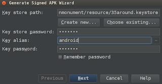 Generate Signed APK Wizard - KeyStore