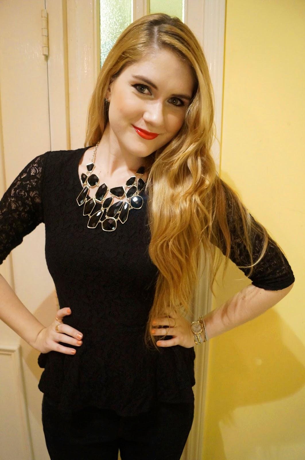 Black Peplum Top Outfit