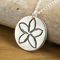 plumeria frangipani tropical flower silver necklace