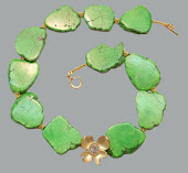 Lime Turqoise Spring Necklace with Goldplated Flower