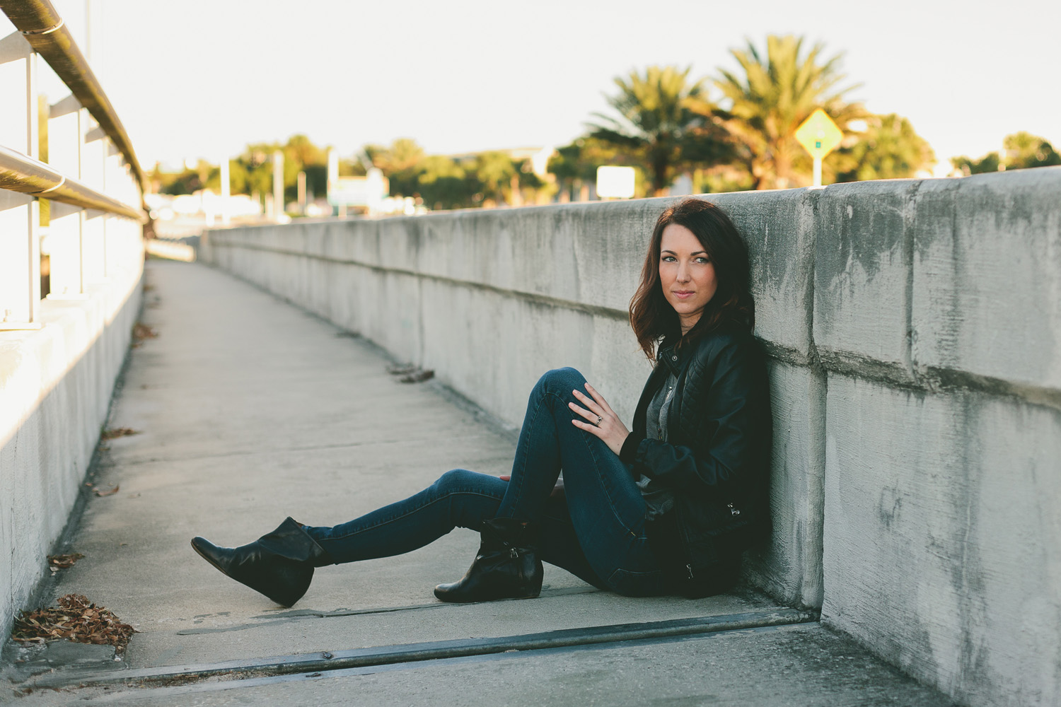 St. Augustine blogger Meaghan Alvarado in moto jacket and leather boots