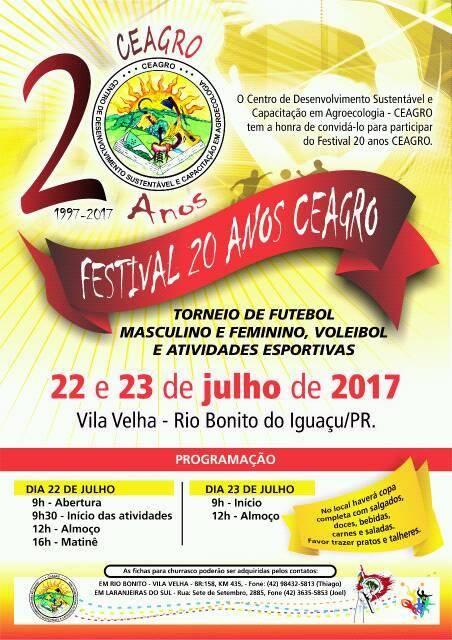 Rio Bonito do Iguaçu:Vem aí o Festival de 20 anos do Ceagro