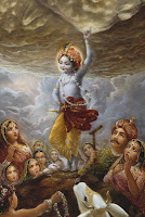 Krishna Lifts Govardhan