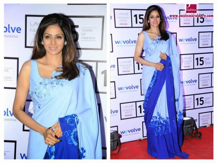 Sridevi Kapoor  in Designer  Grey and Navy Double Shaded Embroidery Work Saree
