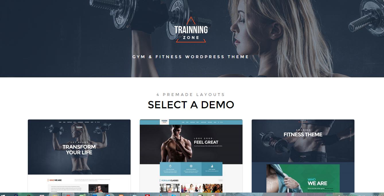 training zone gym fitness wordpress theme