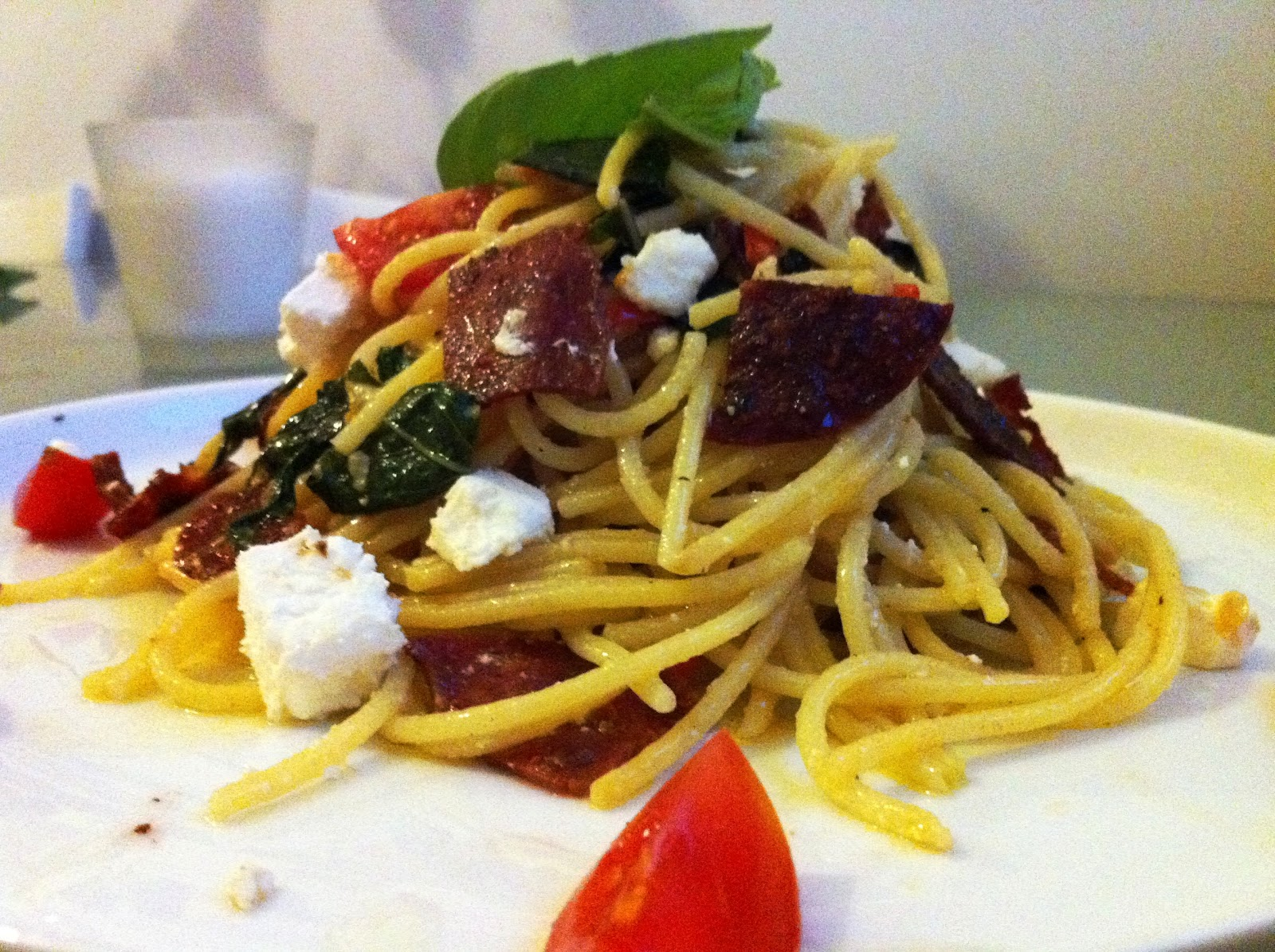 ... sauce with Danish feta and crispy hot salami chips (with recipe