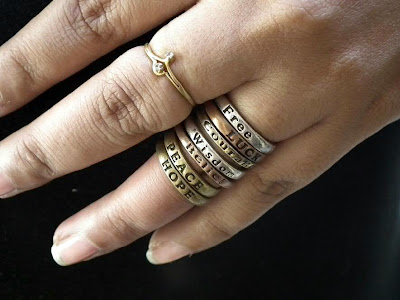 Stacked Rings in Silver, Golden and Copper