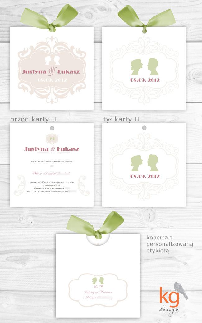 logo pary, oryginalne zaproszenia wiązane wstążką, pistacjowy, pojedyncze karty, różowy, malinowy, delikatne, eleganckie, beż, monogram, portret kamei, portret sylwetowy, wstążka, zielony, pistacjowy, beż, pudrowy róż, brudny róż, malinowy,