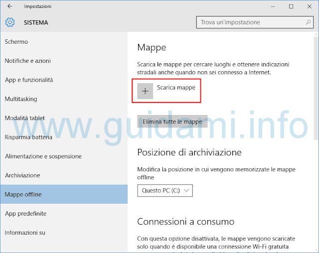 Windows 10 Scarica mappe offline