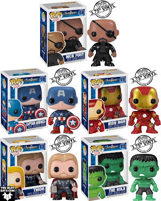The Avengers Movie Pop! Marvel Vinyl Figure Bobble Heads by Funko - Nick Fury, Captain America, Iron Man, Thor & The Incredible Hulk