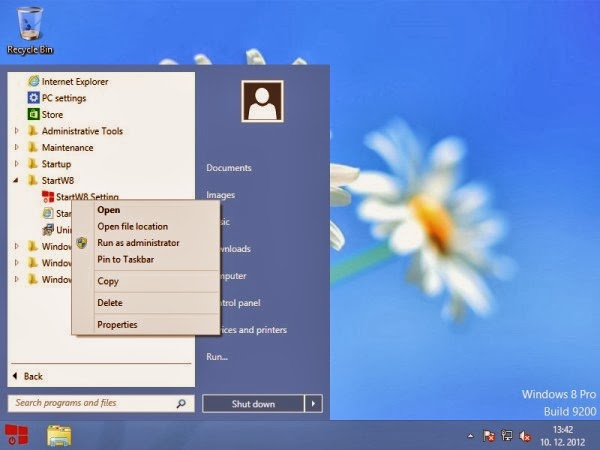 StartW8: Free Start Menu for Windows 8 with search box