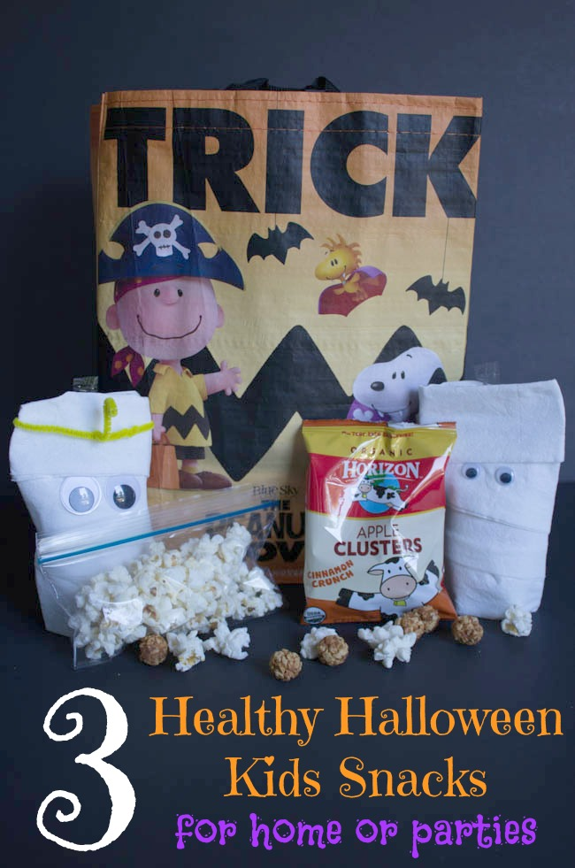Healthy Halloween Snacks for your kids at school parties. Also get a free Peanuts Trick-or-treat bag. #ad