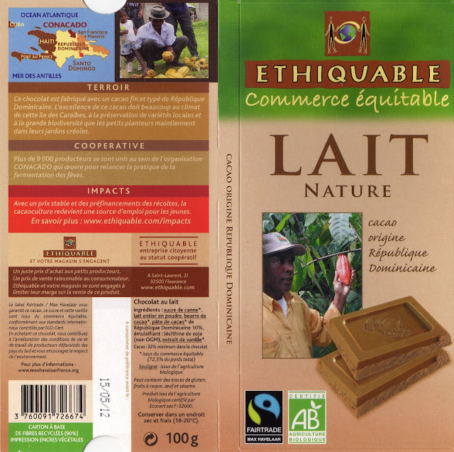 tablette de chocolat lait dégustation ethiquable république dominicaine lait nature