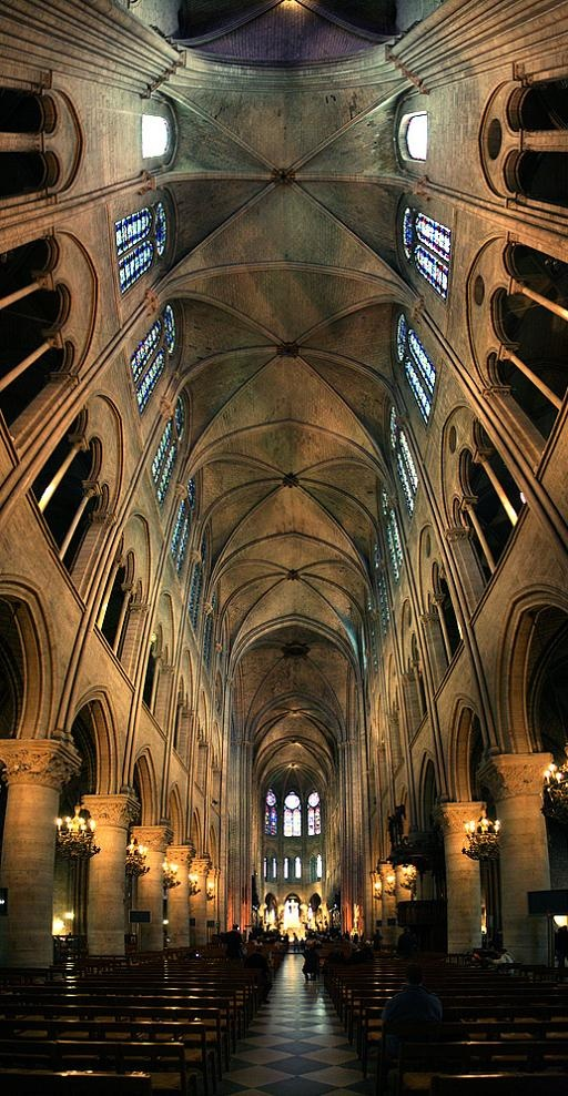 interior of the notre dame cathedral in paris. Black Bedroom Furniture Sets. Home Design Ideas