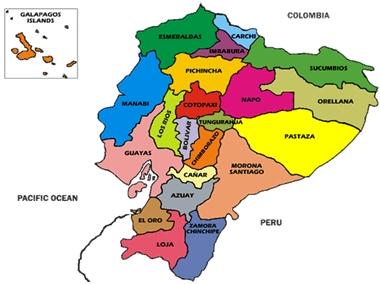 mapa del ecuador actualizado