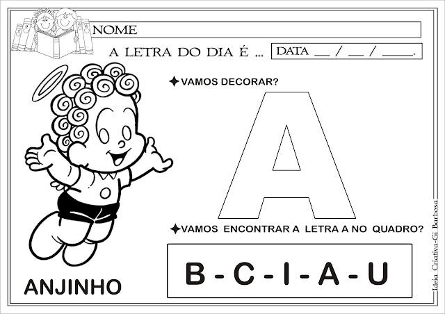 Atividade Vogal A / Letra do Dia Turma da Mônica