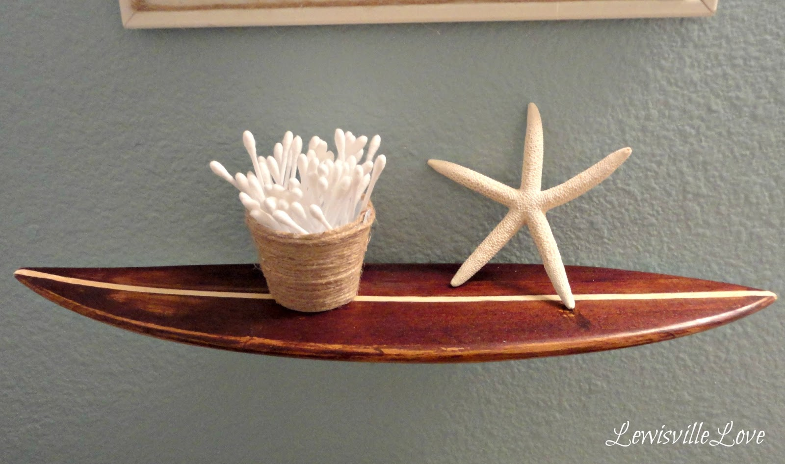 Lewisville Love: Surf Board Shelf for the Beach Bathroom
