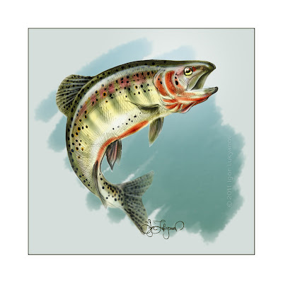 color trout fish, drawing