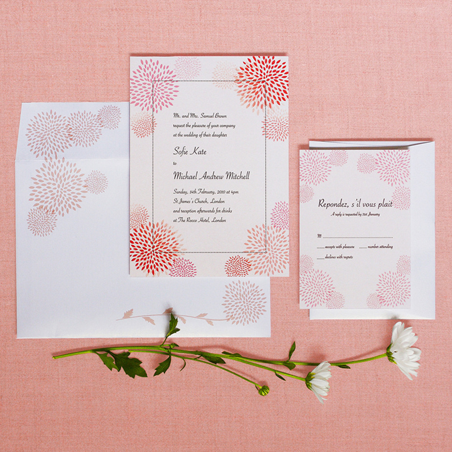 Elegant pieces pink wedding invitation for Wedding invitation designs fuchsia pink