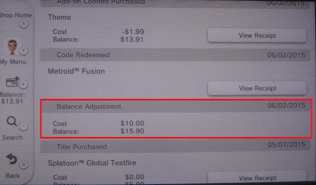 Nintendo eShop balance adjustment screenshot picture money funds