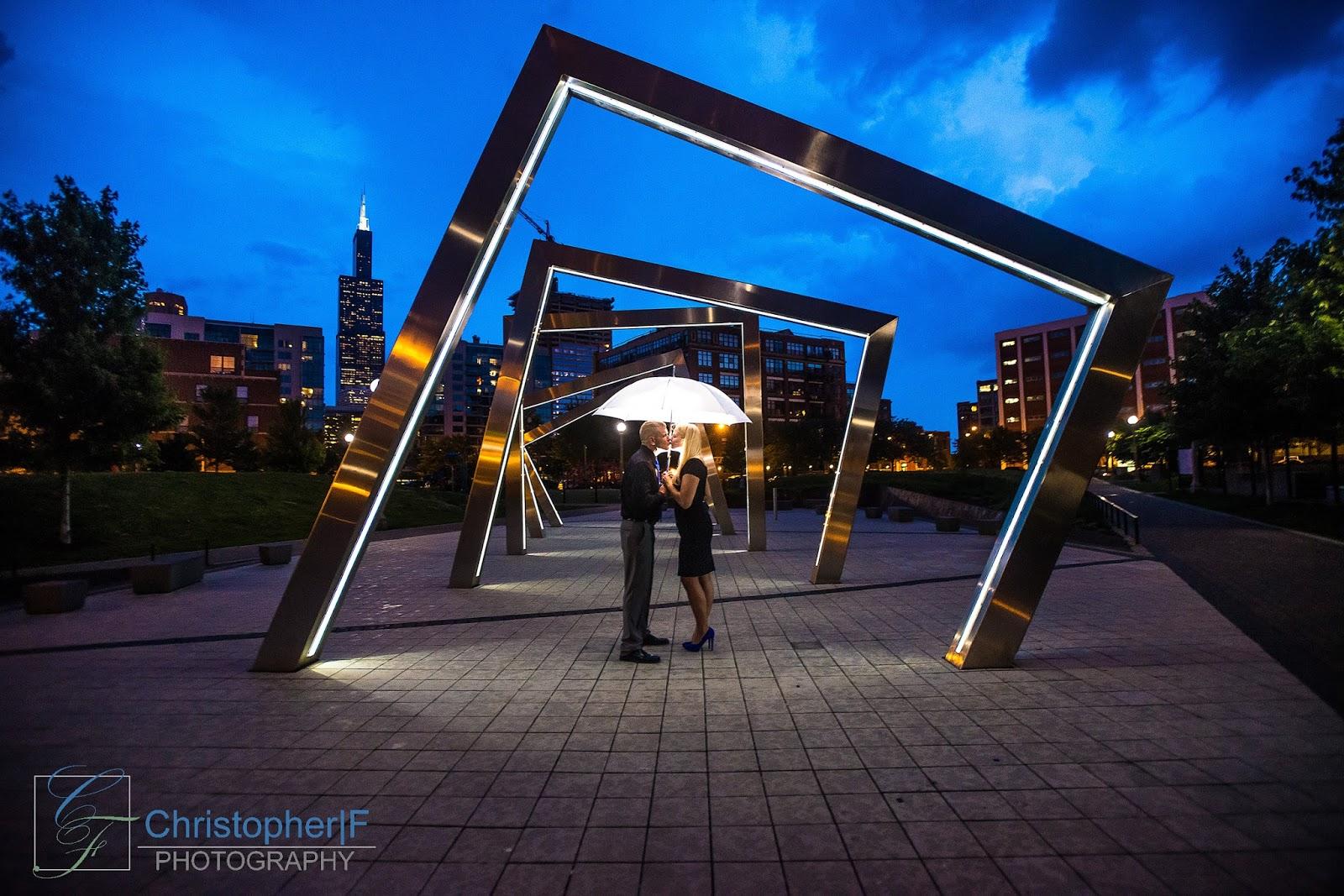 Chicago Mary Bartleme park Rain Engagement Photo