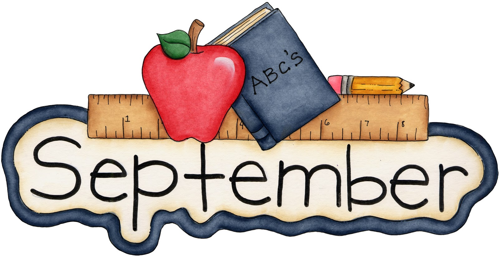 The word September with books and school supplies around the Word September