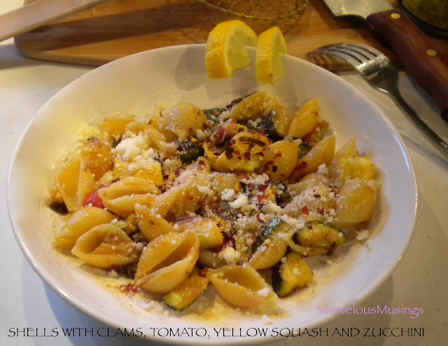 Summer squash with shells and clams, tomato superfood supper in under half hour/marvleousmusings