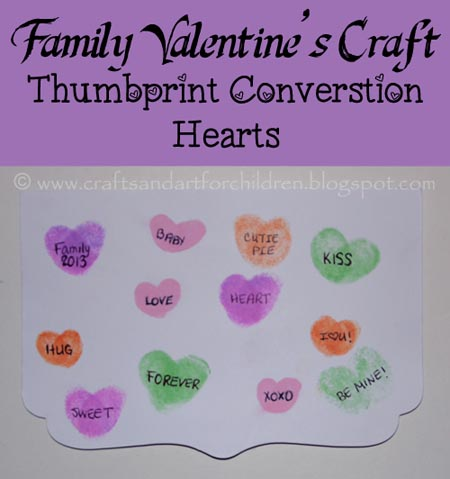 Thumbprint Conversation Hearts, Family Valentine's Day Craft