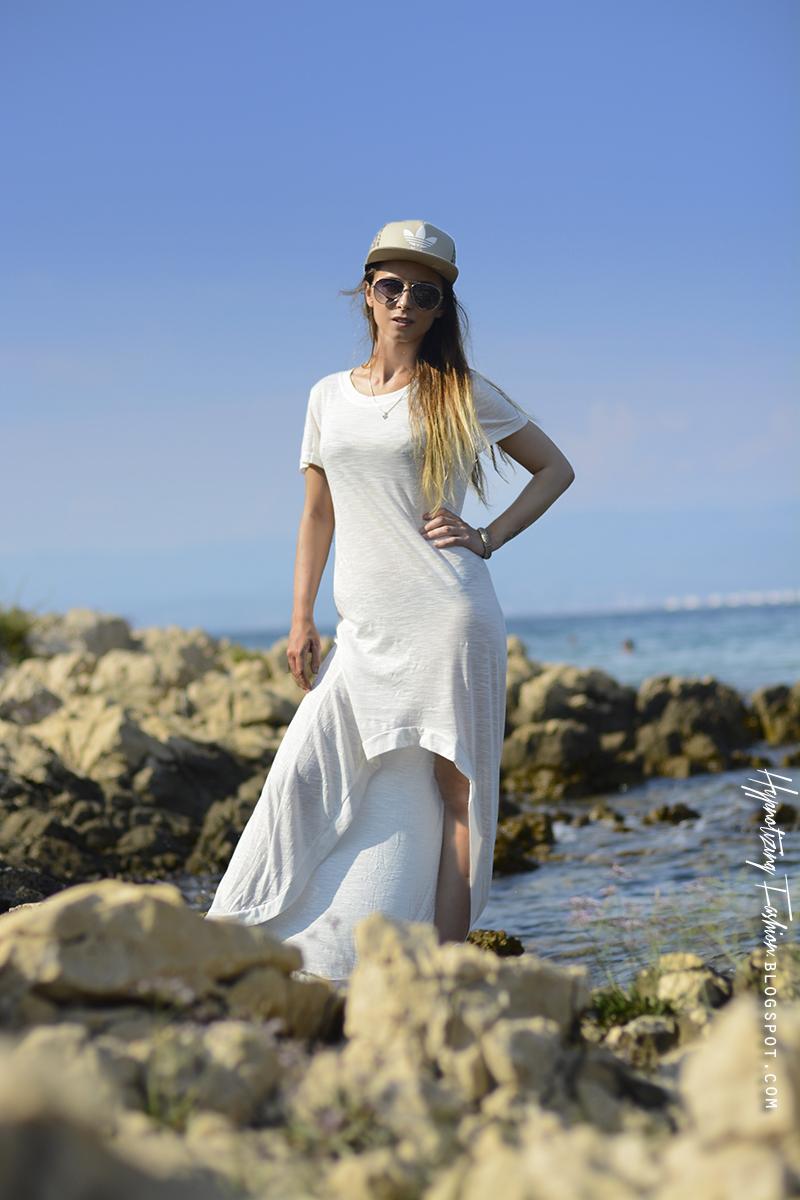 stylizacje na lato biała sukienka