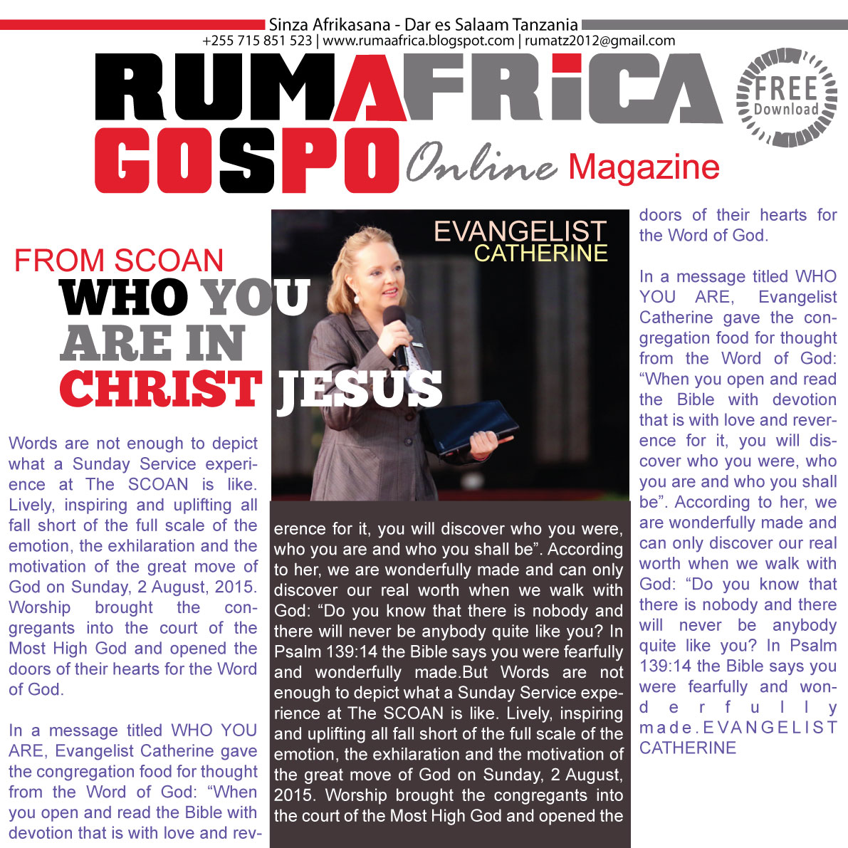 FROM SCOAN: WHO YOU ARE IN CHRIST JESUS