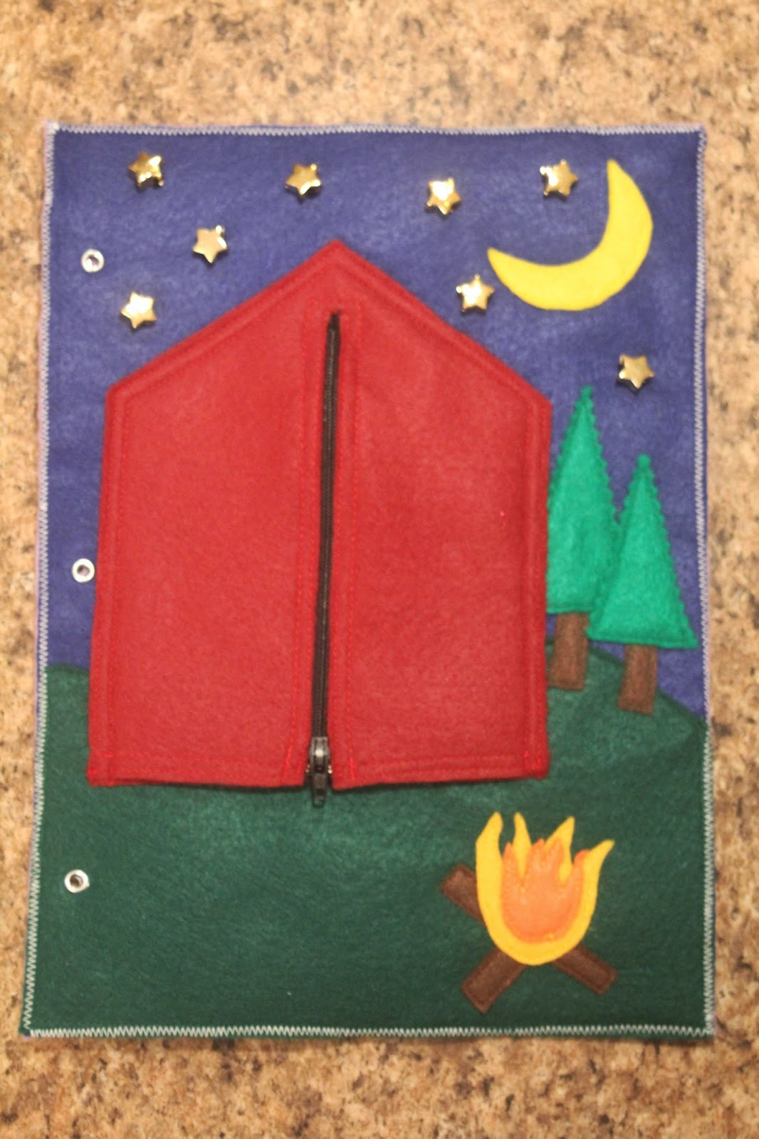 it s maggie made quiet book page 7 zipper camping