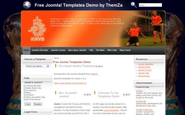 Free Orange Blue Soccer Joomla Theme Template