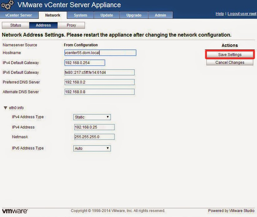Ventana Network VMware vCenter Server Appliance