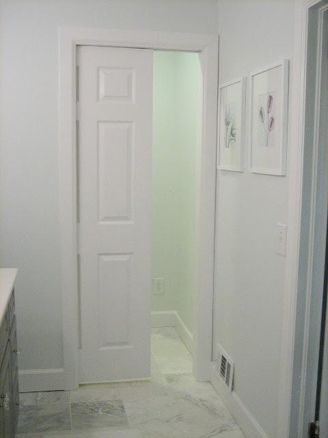 Ten june diy gray painted bathroom vanity master for Master bathroom pocket door
