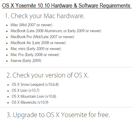 Mac OS X Yosemite 10.10 Hardware and Software Requirements