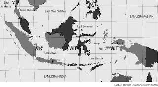 Peta Pembagian Waktu Wilayah Indonesia