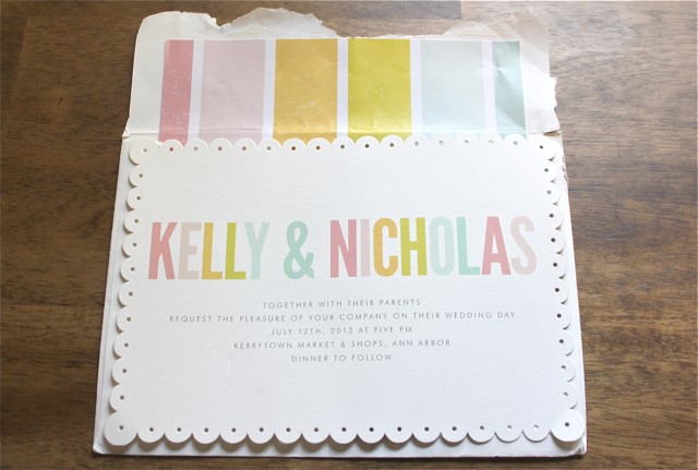 muted pastel rainbow invitation to Zingerman's on fourth wedding Kerrytown wedding sweet pea floral design