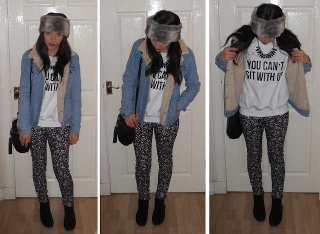denim borg jacket outfit