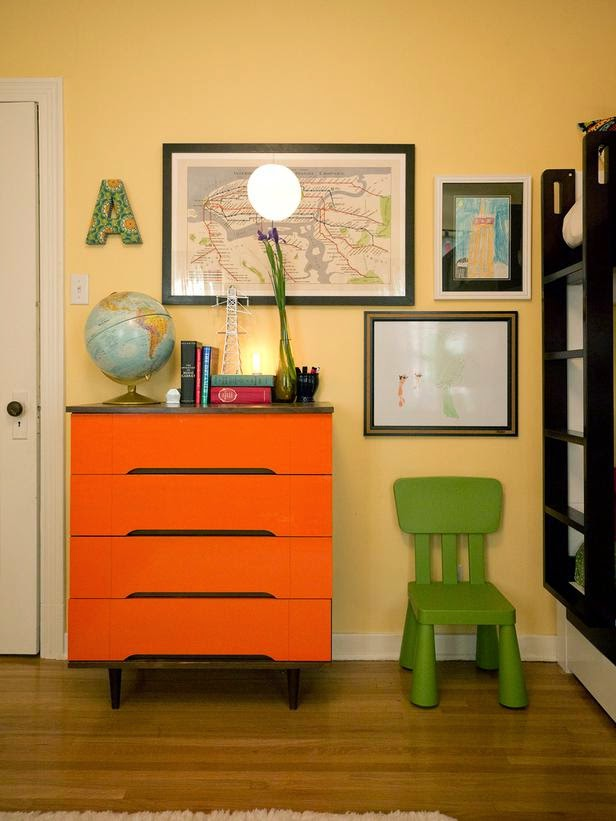 kids room orange modern dresser eclectic style