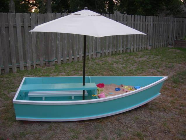 как сделать песочницу в виде лодки