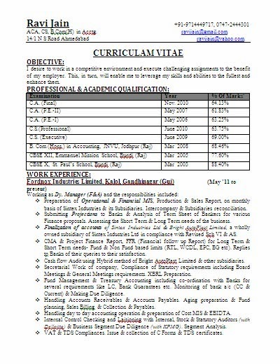 ca bcom experienced professional resume format download jobnotificationin - Experience Resume Format Download
