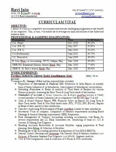 CA BCom Experienced Professional Resume Format Download Jobnotification.in