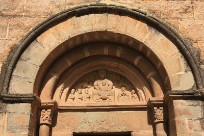 Tympanum of Sant Marti romanesque church in Mura